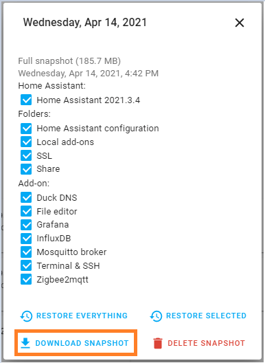 Snapshot Home Assistant